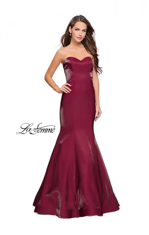 Picture of: Strapless Long Mermaid Prom Dress in Two Tone Satin in Garnet, Style: 25383, Main Picture