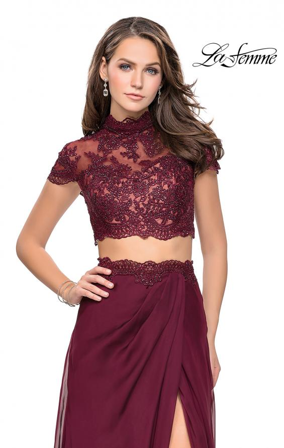 Picture of: Chiffon Two Piece Gown with Lace Top and Belt Detail, Style: 25384, Main Picture