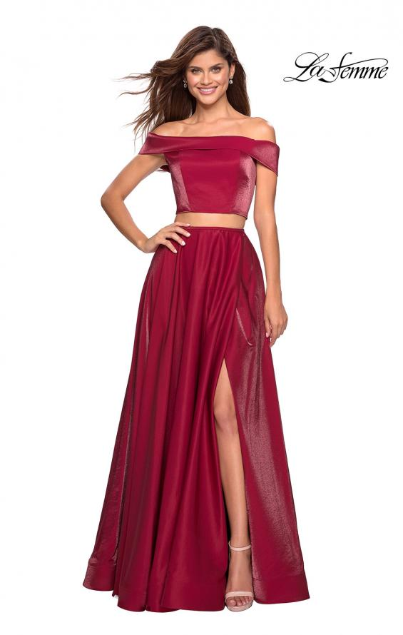 Picture of: Two Piece Two- Tone Satin A Line Prom Dress in Garnet, Style: 26919, Main Picture