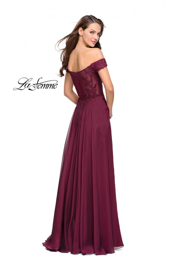 Picture of: Chiffon Prom Dress with Off the Shoulder Lace Top, Style: 25129, Back Picture