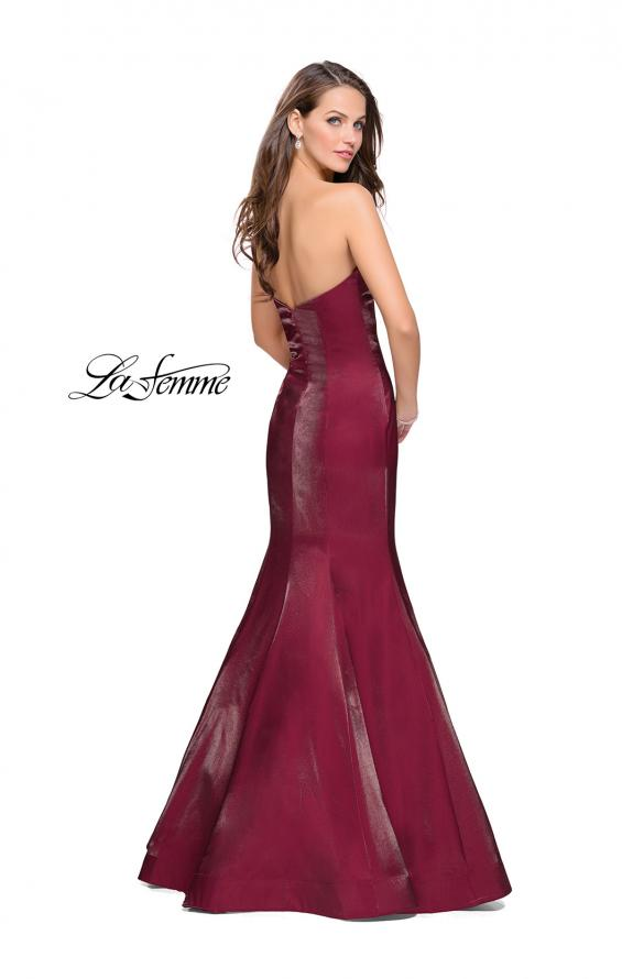 Picture of: Strapless Long Mermaid Prom Dress in Two Tone Satin in Garnet, Style: 25383, Back Picture