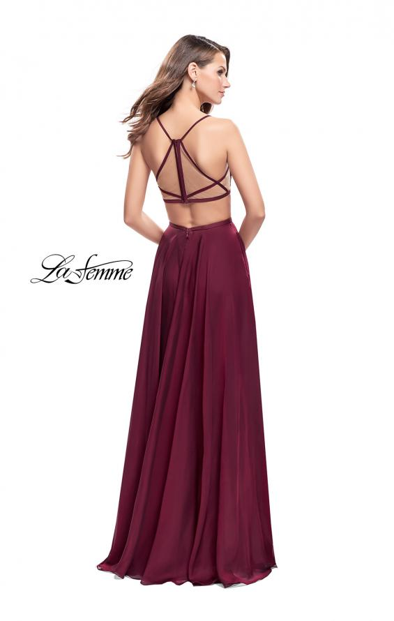 Picture of: A-Line Dress with Embroidered Lace Top and Pockets in Garnet, Style: 26243, Back Picture