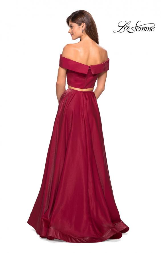 Picture of: Two Piece Two- Tone Satin A Line Prom Dress in Garnet, Style: 26919, Back Picture