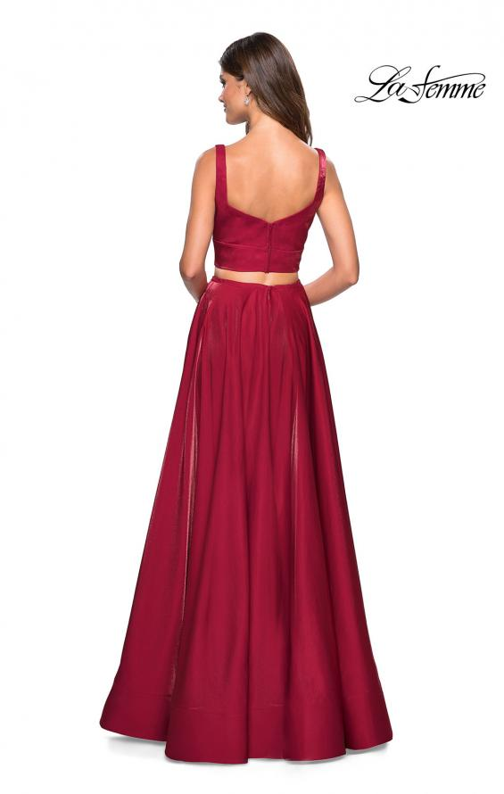 Picture of: Metallic Satin Two Piece Gown with Pockets in Garnet, Style: 27444, Back Picture