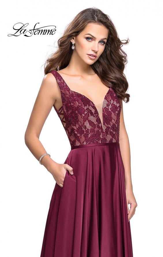Picture of: Long A line Prom Dress with Lace Up Side Cut Outs in Garnet, Style: 25436, Detail Picture 1