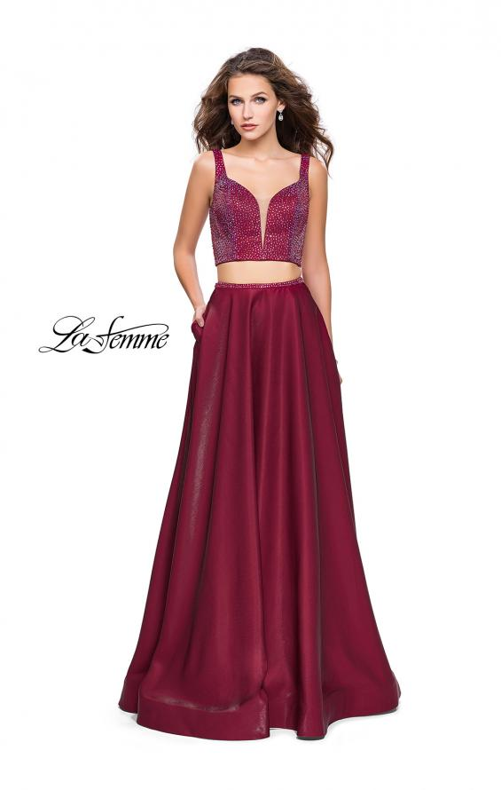 Picture of: Two Piece A-line Gown with Beading and Low Scoop Back in Garnet, Style: 25939, Detail Picture 1