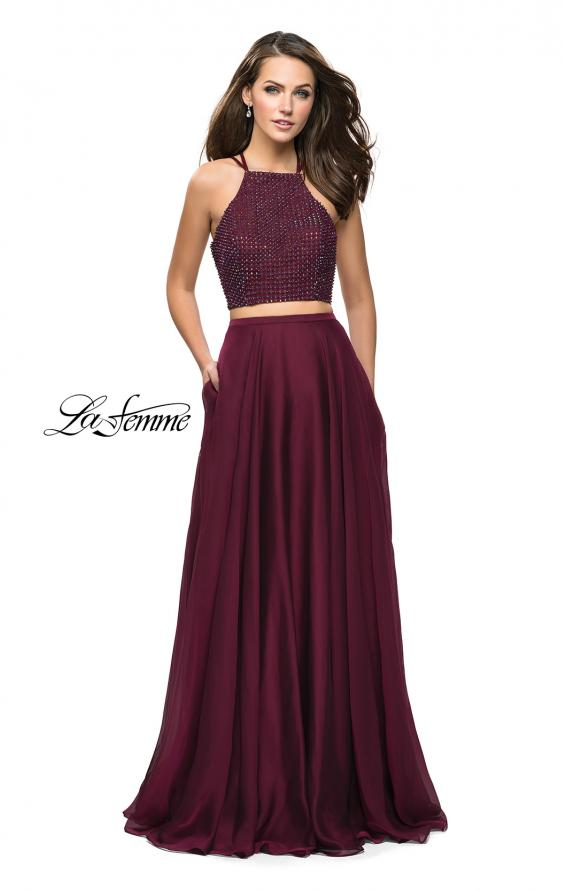 Picture of: Long Chiffon Two Piece Prom Dress with Metallic Beading in Garnet, Style: 26002, Detail Picture 1