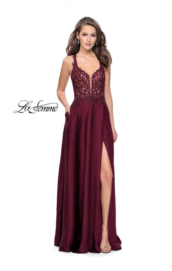 Picture of: Beaded and Embroidered Lace Prom Dress with Slit in Garnet, Style: 26124, Detail Picture 1