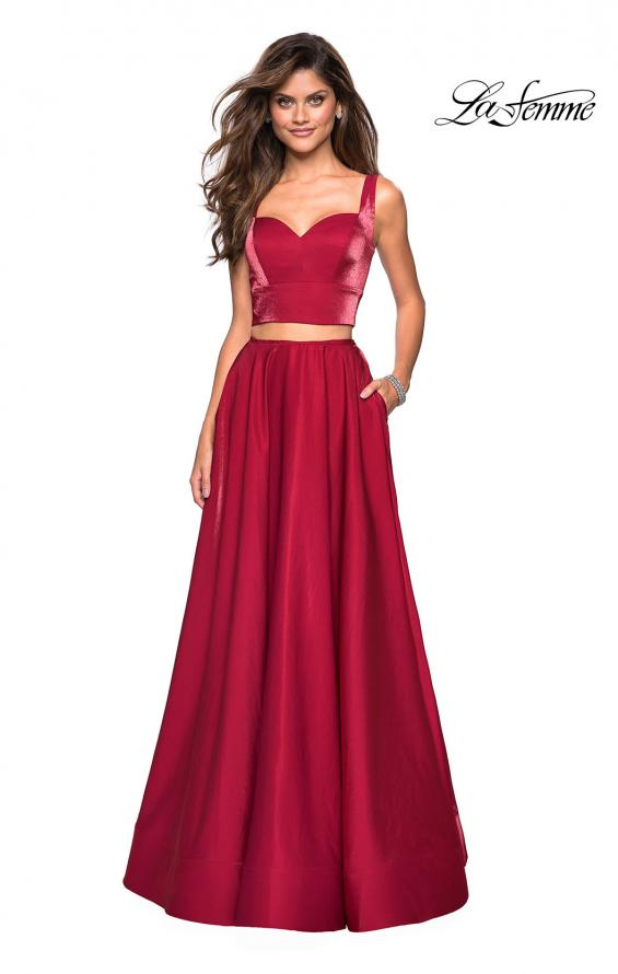 Picture of: Metallic Satin Two Piece Gown with Pockets in Garnet, Style: 27444, Detail Picture 1