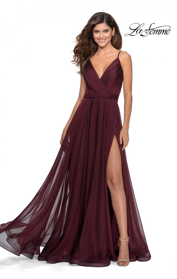 Picture of: Chiffon Prom Dress with Pleated Bodice and Pockets in Garnet, Style: 28611, Detail Picture 1