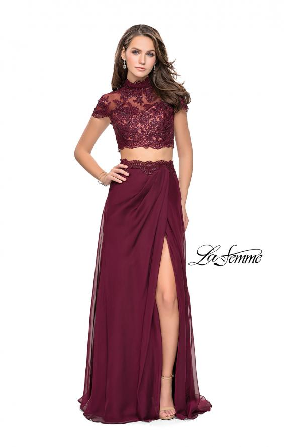 Picture of: Chiffon Two Piece Gown with Lace Top and Belt Detail, Style: 25384, Detail Picture 2