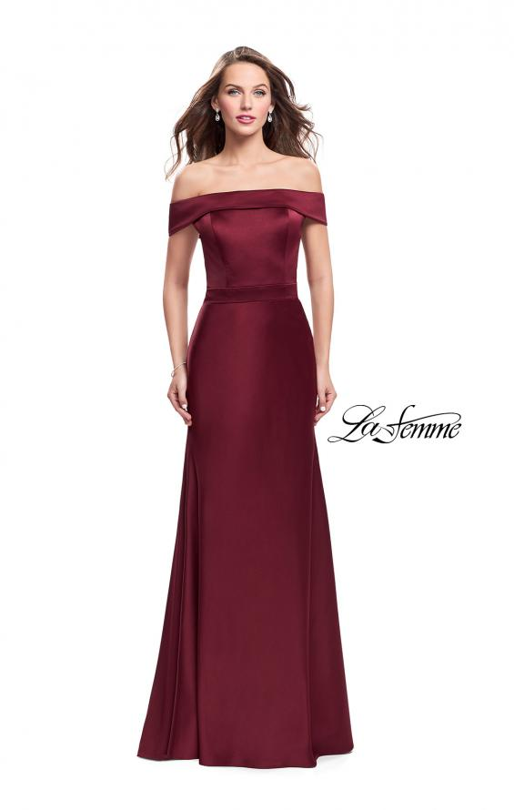 Picture of: Satin Off the Shoulder Dress with Trumpet Silhouette in Garnet, Style: 25579, Detail Picture 2