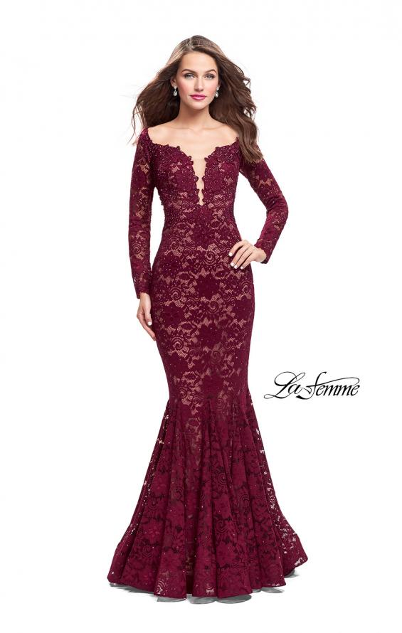 Picture of: Long Sleeve Lace Mermaid Prom Dress with Metallic Beads, Style: 25607, Detail Picture 2