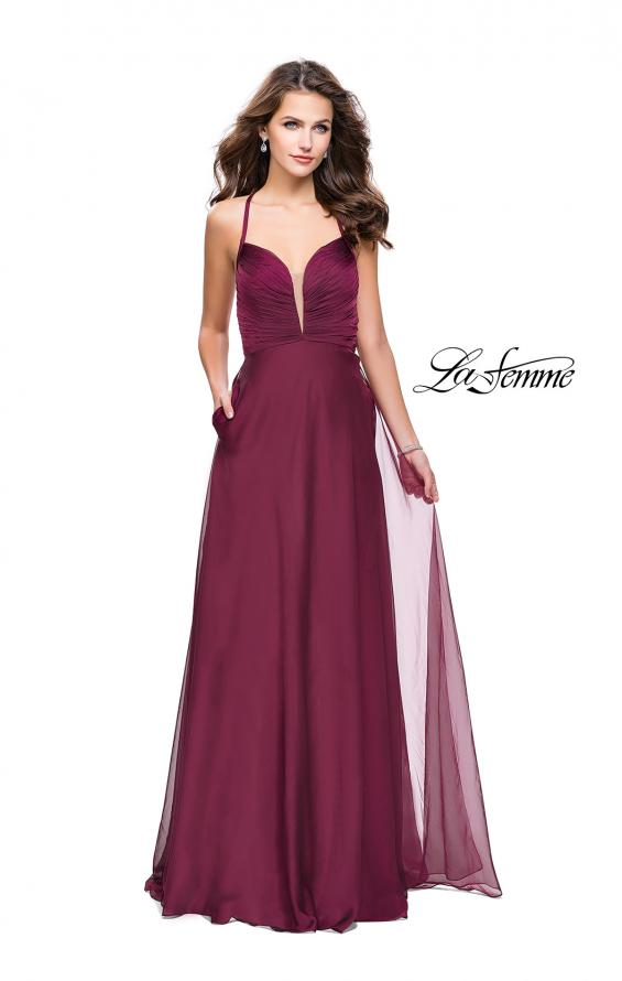 Picture of: A-line Prom Dress with Ruched Bodice and Pockets in Garnet, Style: 26190, Detail Picture 2