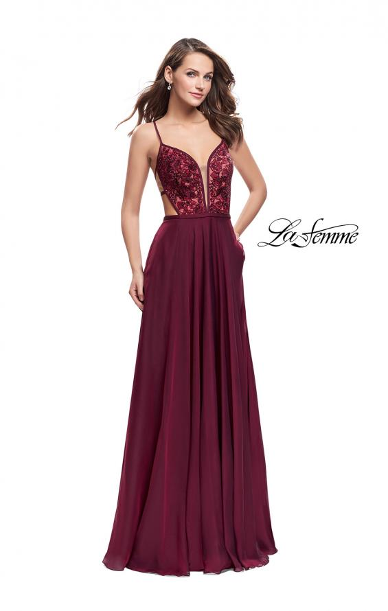 Picture of: A-Line Dress with Embroidered Lace Top and Pockets in Garnet, Style: 26243, Detail Picture 2