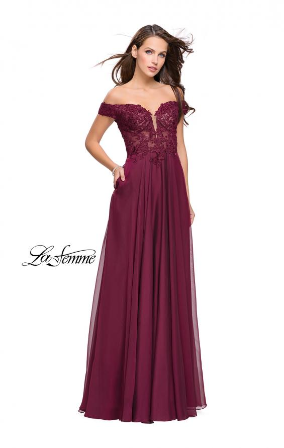 Picture of: Chiffon Prom Dress with Off the Shoulder Lace Top, Style: 25129, Detail Picture 3