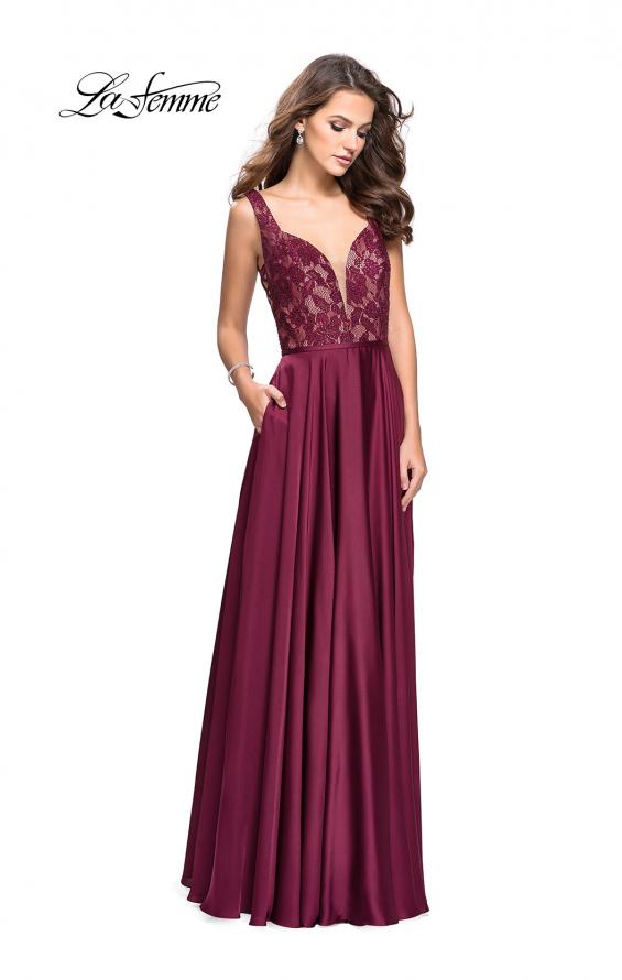 Picture of: Long A line Prom Dress with Lace Up Side Cut Outs in Garnet, Style: 25436, Detail Picture 2