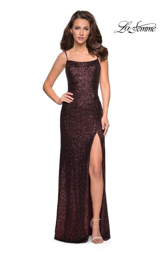 Picture of: Floor Length Fully sequin Prom Dress with Slit in Garnet, Style: 27272, Detail Picture 4