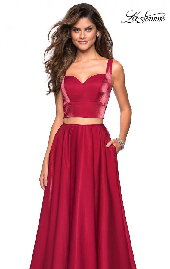 Picture of: Metallic Satin Two Piece Gown with Pockets in Garnet, Style: 27444, Detail Picture 4
