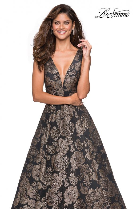 Picture of: Metallic Floral Prom Gown with V Neckline and Pockets in Gold Black, Style: 27482, Main Picture