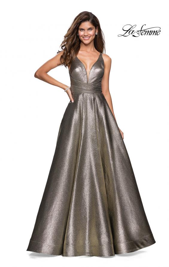 Picture of: Metallic A-Line Prom Gown with Criss Cross Strappy Back, Style: 27532, Main Picture