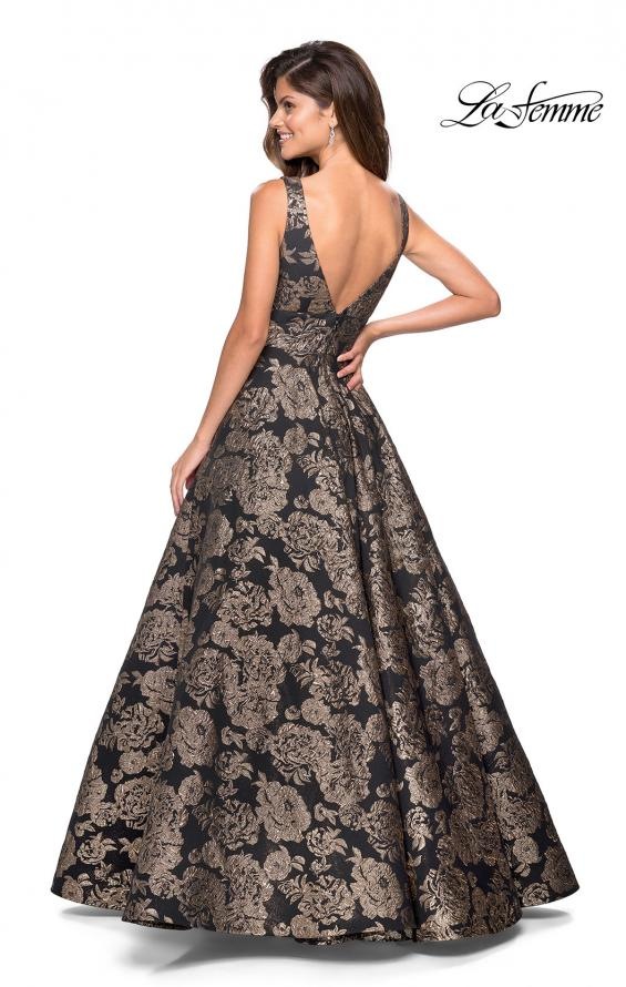 Picture of: Metallic Floral Prom Gown with V Neckline and Pockets in Gold Black, Style: 27482, Back Picture