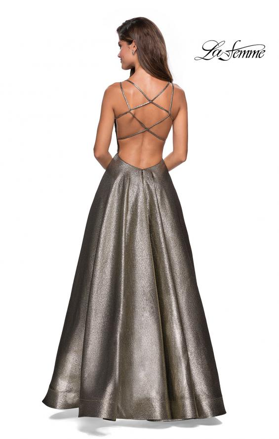 Picture of: Metallic A-Line Prom Gown with Criss Cross Strappy Back, Style: 27532, Back Picture