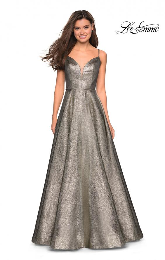 Picture of: Metallic Long Evening Gown with Plunging Neckline, Style: 27322, Detail Picture 1