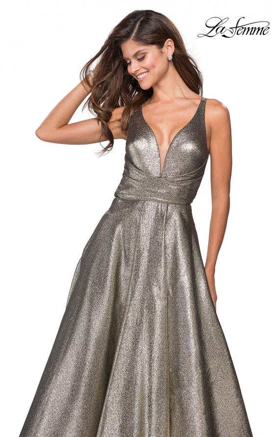 Picture of: Metallic A-Line Prom Gown with Criss Cross Strappy Back, Style: 27532, Detail Picture 1