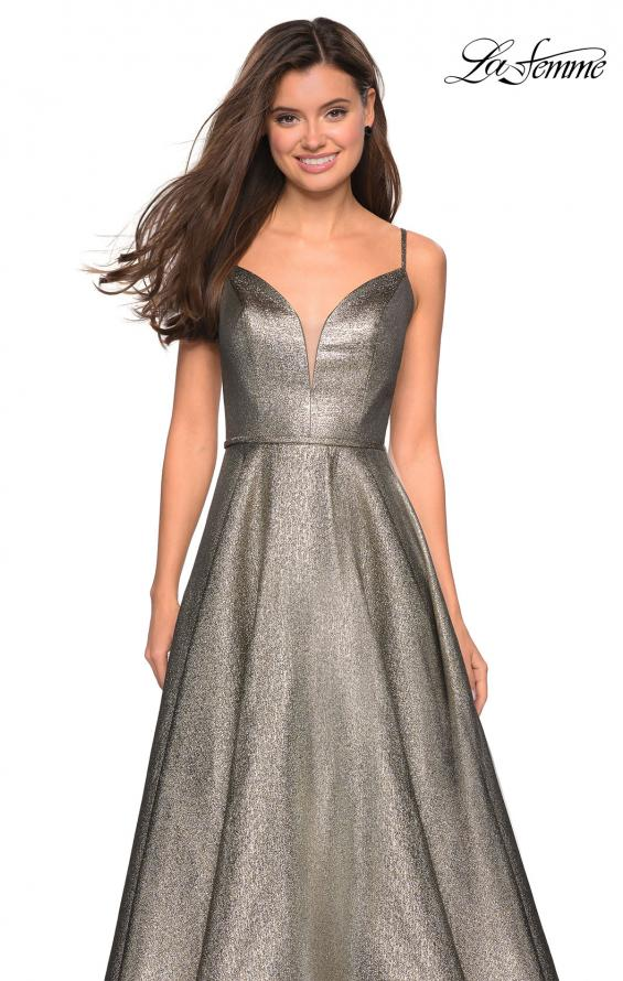 Picture of: Metallic Long Evening Gown with Plunging Neckline, Style: 27322, Detail Picture 4