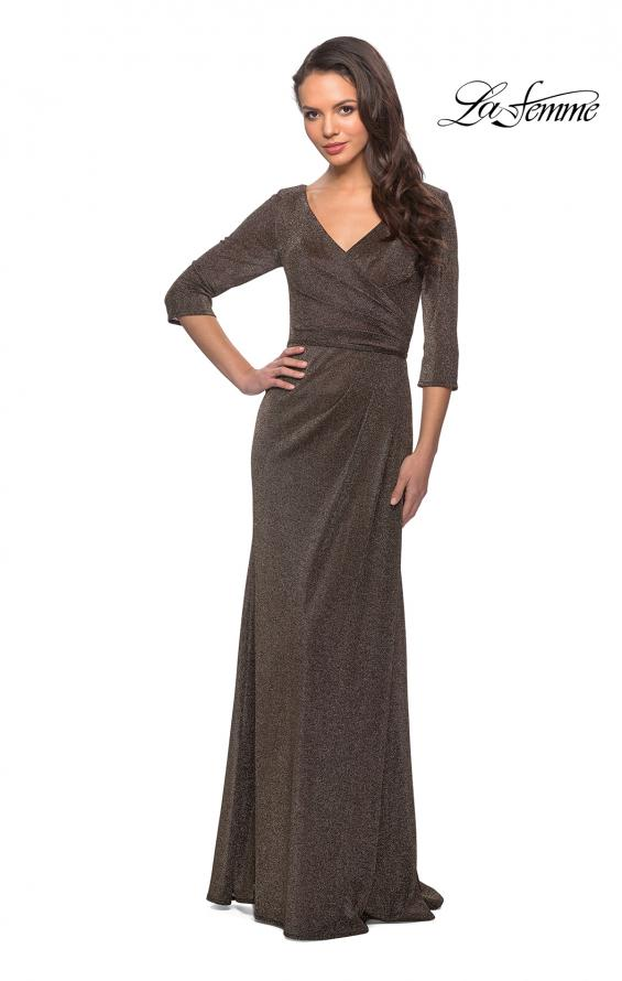 Picture of: 3/4 Sleeve Long Jersey Dress with Empire Waist in Gold, Style: 26419, Detail Picture 1