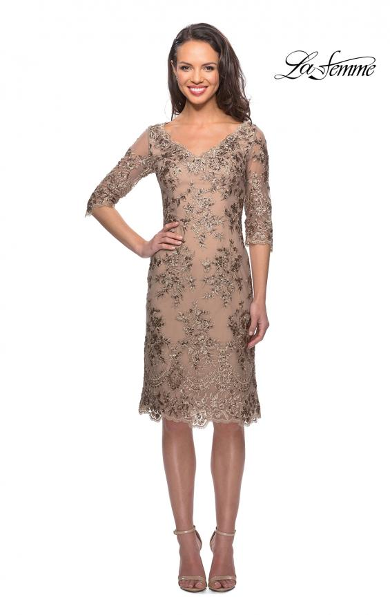 Picture of: Short Lace Dress with V Neck and 3/4 Sleeves in Gold Nude, Style: 26871, Main Picture