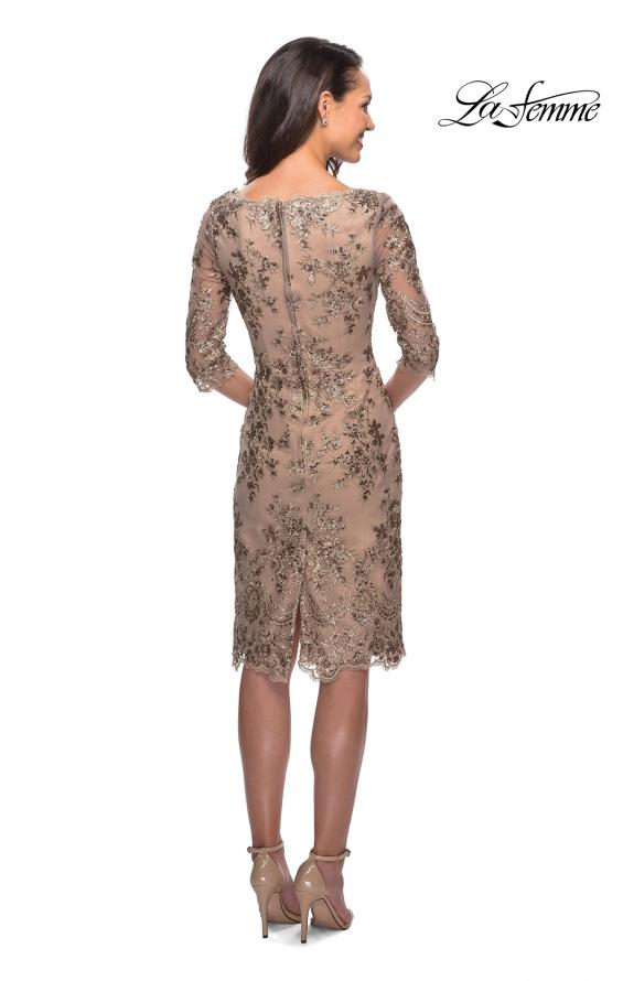 Picture of: Short Lace Dress with V Neck and 3/4 Sleeves in Gold Nude, Style: 26871, Back Picture