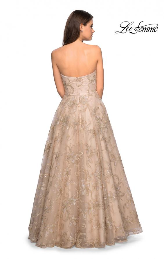 Picture of: Strapless A-Line Embroidered Prom Dress, Style: 27640, Back Picture