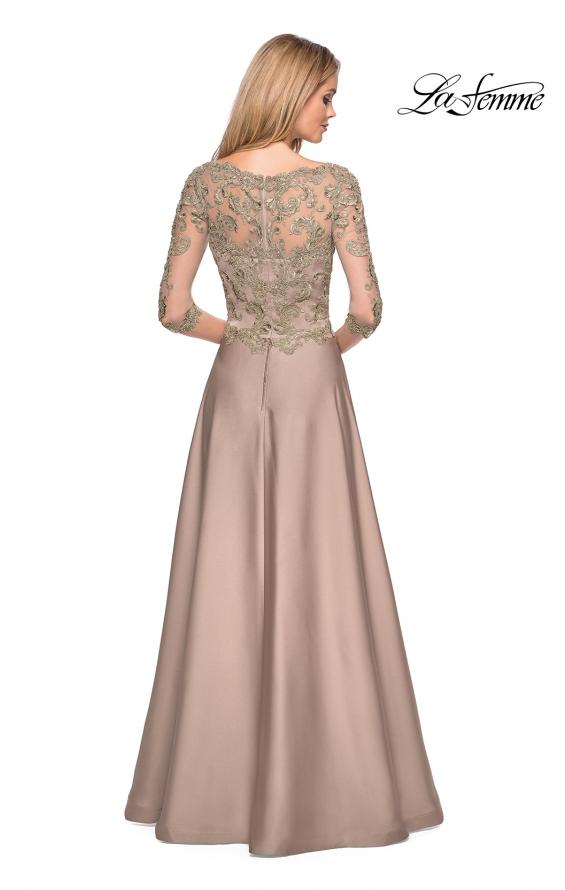 Picture of: Floor Length Satin Dress wirh Lace Detail and Pockets, Style: 27235, Detail Picture 3