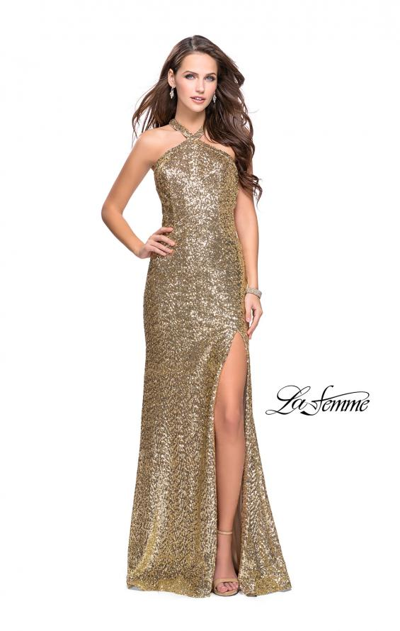 Picture of: Long Sequin Halter Prom Dress with Strappy Back and Slit, Style: 25418, Main Picture