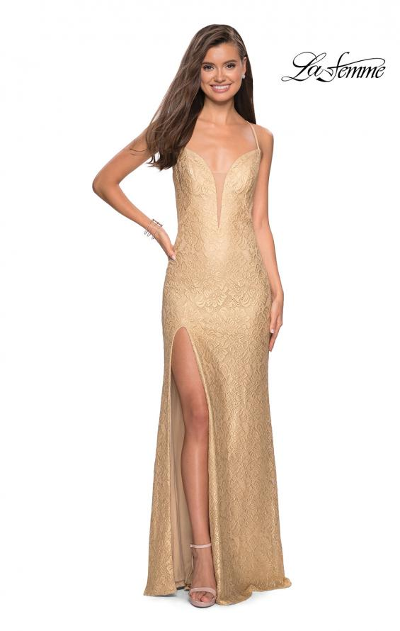 Picture of: Gold Stretch Lace Prom Dress with Strappy Back and Slit in Gold, Style: 27725, Main Picture