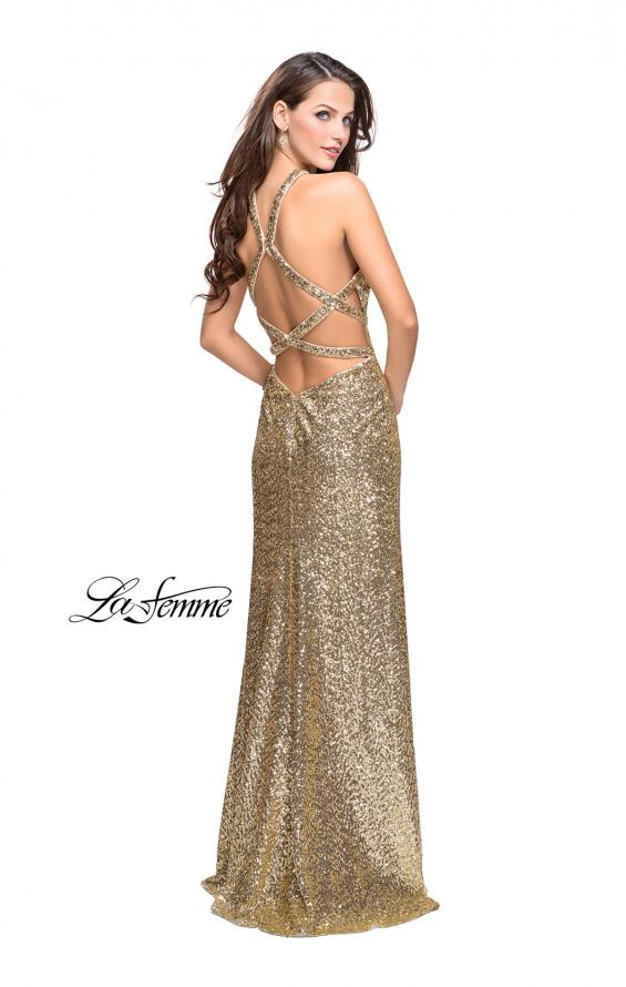Picture of: Long Sequin Halter Prom Dress with Strappy Back and Slit, Style: 25418, Back Picture