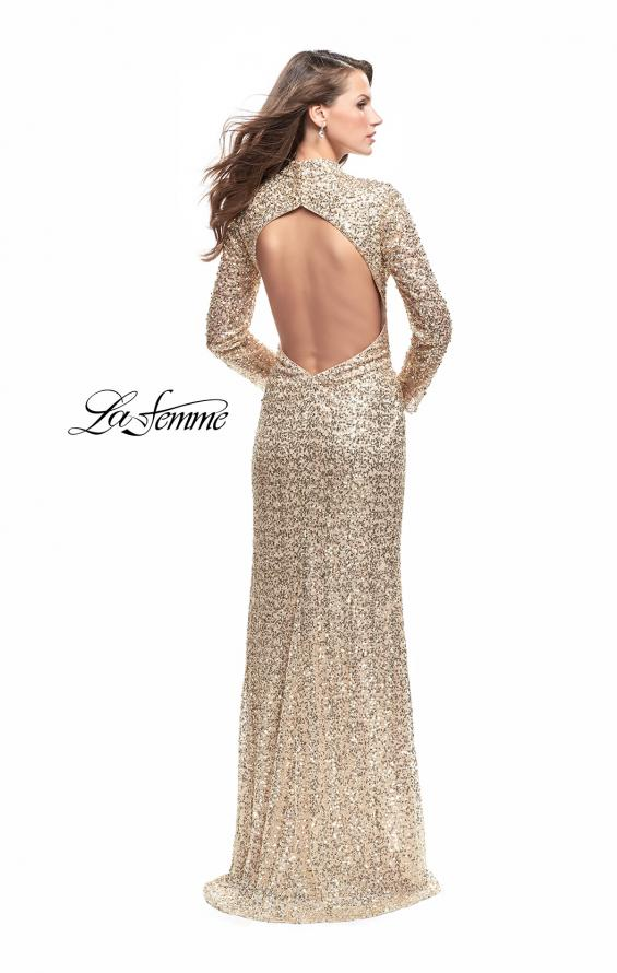 Picture of: Long Sleeve Sequin High Neck Prom Dress with Slit in Gold, Style: 26263, Back Picture