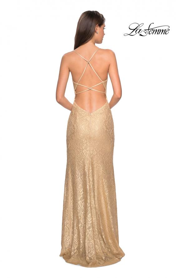 Picture of: Gold Stretch Lace Prom Dress with Strappy Back and Slit iin Gold, Style: 27725, Back Picture
