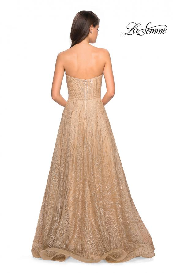 Picture of: Textured Lace Strapless Prom Dress in Gold, Style: 27776, Back Picture