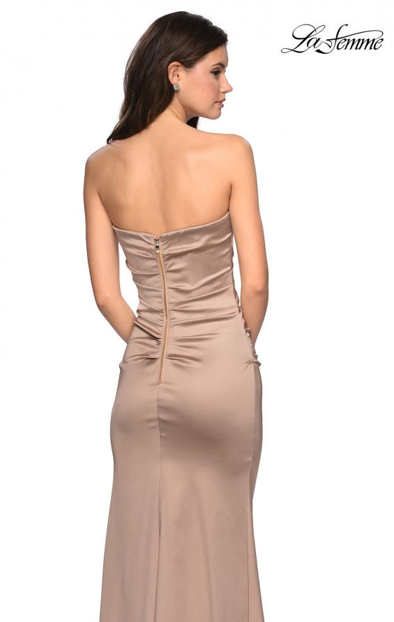 Picture of: Body Forming Strapless Satin Dress with Side Slit in Gold, Style: 27780, Back Picture