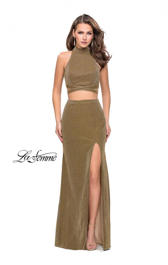 Picture of: Two Piece Jersey Prom Dress with Open Back and Leg Slit in Gold, Style: 25604, Detail Picture 1
