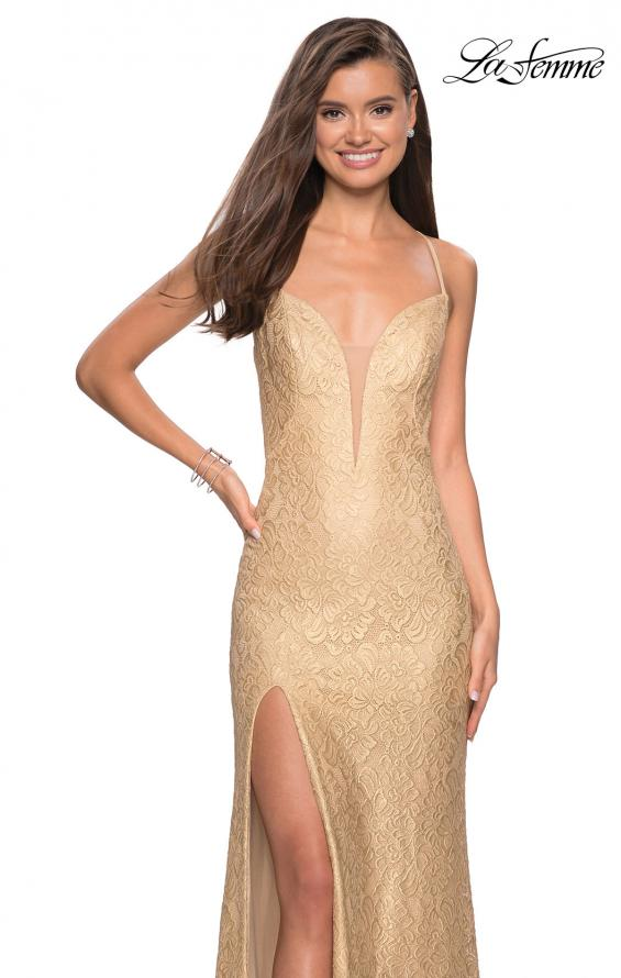 Picture of: Gold Stretch Lace Prom Dress with Strappy Back and Slit in Gold, Style: 27725, Detail Picture 1