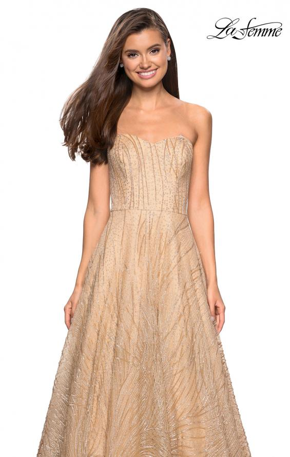 Picture of: Textured Lace Strapless Prom Dress in Gold, Style: 27776, Detail Picture 1