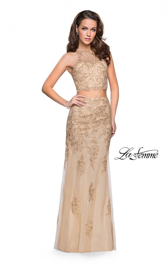 Picture of: Beaded Lace Two Piece Prom Dress with High Neckline in Gold, Style: 26294, Detail Picture 2