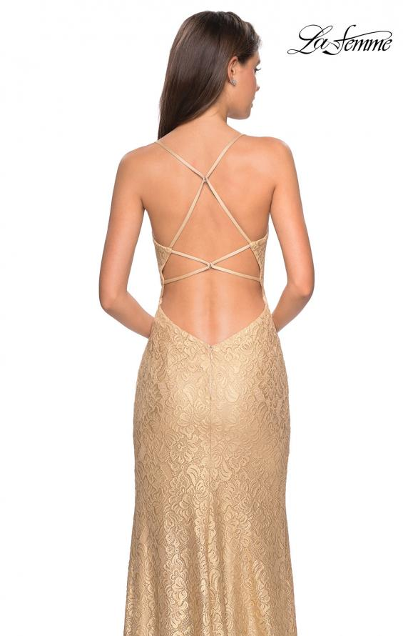 Picture of: Gold Stretch Lace Prom Dress with Strappy Back and Slit in Gold, Style: 27725, Detail Picture 2