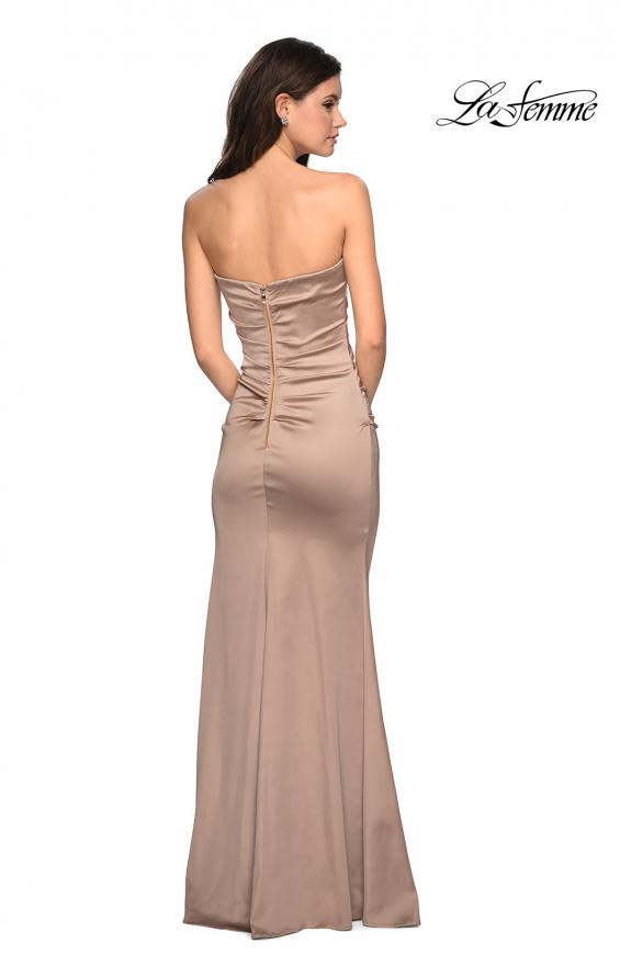 Picture of: Body Forming Strapless Satin Dress with Side Slit in Gold, Style: 27780, Detail Picture 2