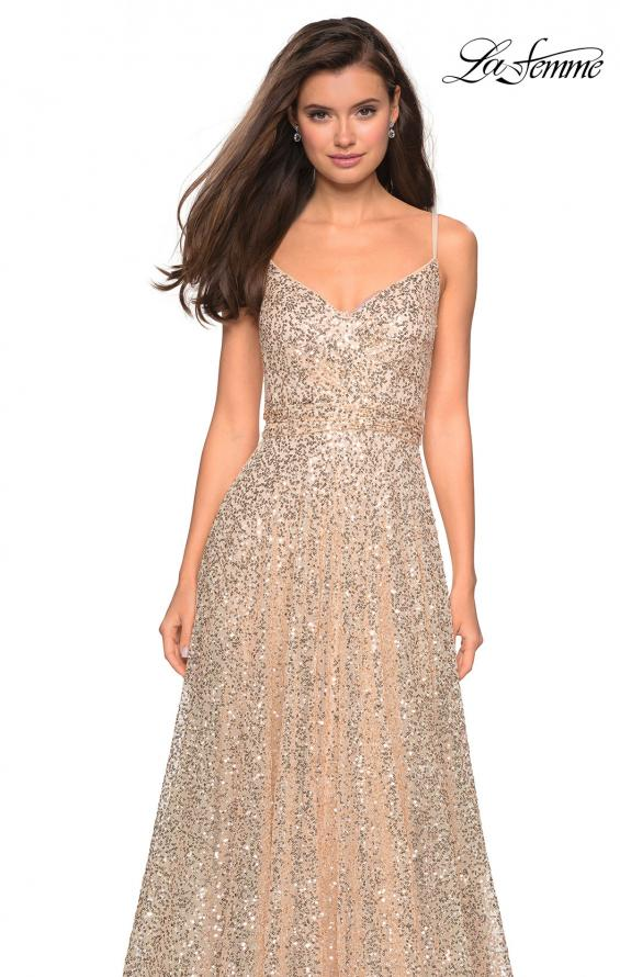 Picture of: sequin Empire Waist Prom Dress with V Back, Style: 27747, Detail Picture 5