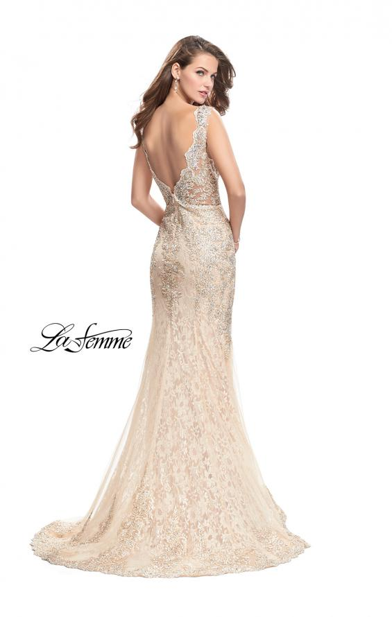 Picture of: Form Fitting Mermaid Lace Dress with Metallic Beading in Gold Nude, Style: 26125, Back Picture
